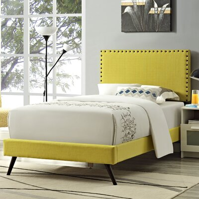 Preiss Upholstered Platform Bed with Round Splayed Legs Size: Twin, Finish: Sunny