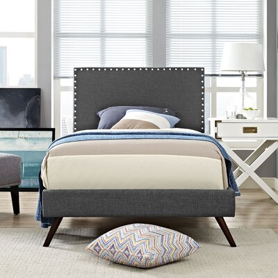 Preiss Upholstered Platform Bed with Round Splayed Legs Finish: Gray, Size: Twin