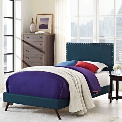Preiss Upholstered Platform Bed with Round Splayed Legs Finish: Azure, Size: Twin