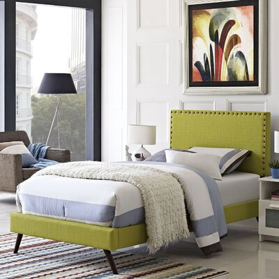 Preiss Upholstered Platform Bed with Round Splayed Legs Size: Twin, Finish: Wheatgrass