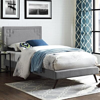 Josie Upholstered Platform Bed Size: Twin, Finish: Light Gray