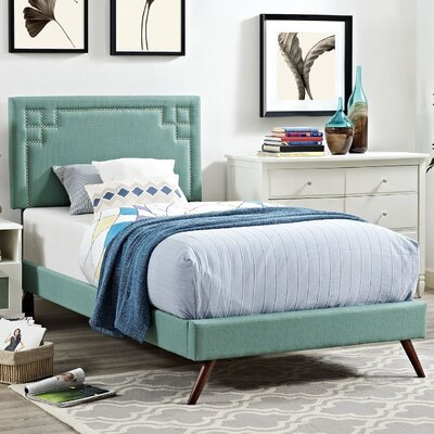 Josie Upholstered Platform Bed Finish: Laguna, Size: Twin