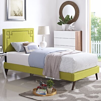 Josie Upholstered Platform Bed Size: Twin, Finish: Wheatgrass