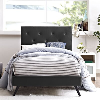 Ziemer Upholstered Platform Bed Size: King, Color: Black