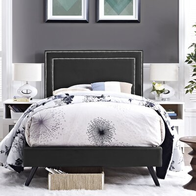 Eyre Upholstered Platform Bed Size: Twin, Color: Black