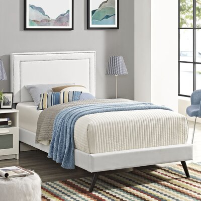 Eyre Upholstered Platform Bed Size: Queen, Color: White