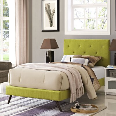 Terisa Upholstered Platform Bed Size: Twin, Finish: Wheatgrass