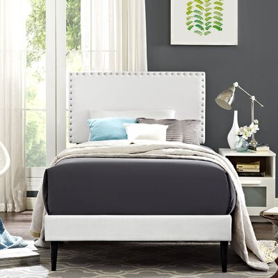 Preiss Solid Wood Upholstered Platform Bed with Round Tapered Legs Size: King, Finish: White