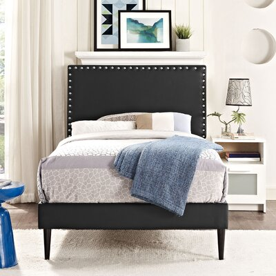 Preiss Solid Wood Upholstered Platform Bed with Round Tapered Legs Finish: Black, Size: Queen