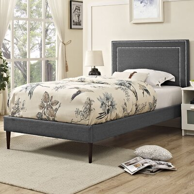 Eyre Upholstered Solid Wood Platform Bed Finish: Gray, Size: Twin