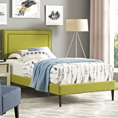 Eyre Upholstered Solid Wood Platform Bed Size: Twin, Finish: Wheatgrass