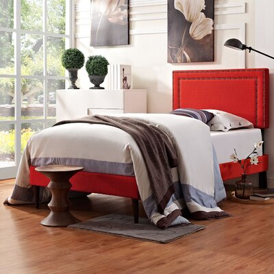 Eyre Upholstered Solid Wood Platform Bed Size: Twin, Finish: Atomic Red