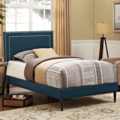 Eyre Upholstered Solid Wood Platform Bed Finish: Azure, Size: Twin
