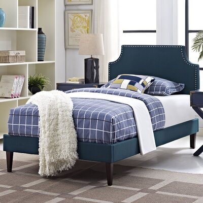 Preciado Upholstered Platform Bed with Squared Tapered Legs Finish: Azure, Size: Twin
