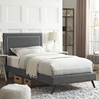 Eyre Contemporary Upholstered Platform Bed Size: Twin, Finish: Gray