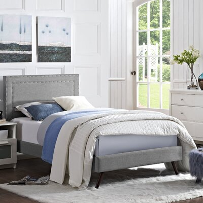 Eyre Contemporary Upholstered Platform Bed Size: Twin, Finish: Light Gray