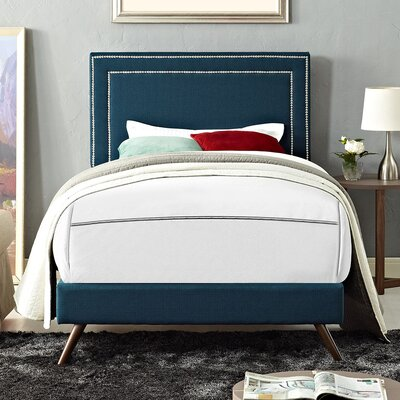 Eyre Contemporary Upholstered Platform Bed Finish: Azure, Size: Full