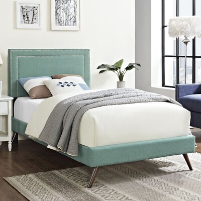 Eyre Contemporary Upholstered Platform Bed Size: Twin, Finish: Laguna