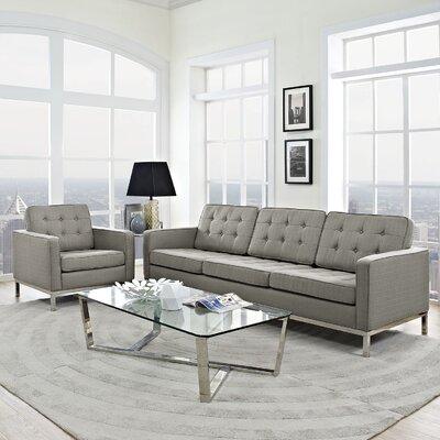 Gayatri 2 Piece Steel Living Room Set Upholstery: Granite