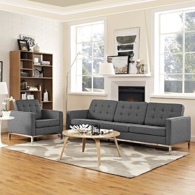 Gayatri 2 Piece Steel Living Room Set Upholstery: Gray