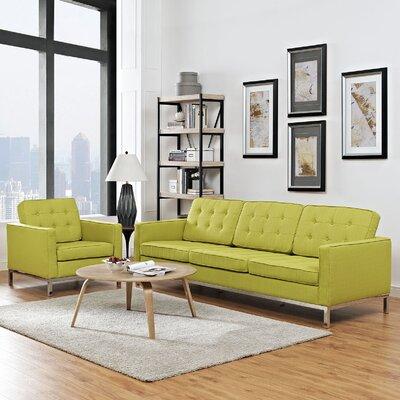 Gayatri 2 Piece Steel Living Room Set Upholstery: Wheatgrass