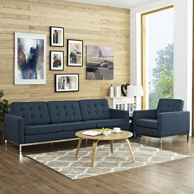Gayatri 2 Piece Steel Living Room Set Upholstery: Azure