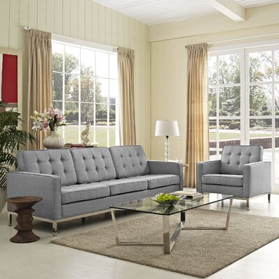 Loft 2 Piece Living Room Set Upholstery: Light Gray