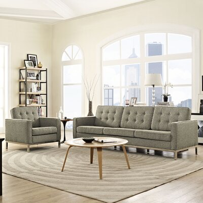 Gayatri 2 Piece Steel Living Room Set Upholstery: Oatmeal