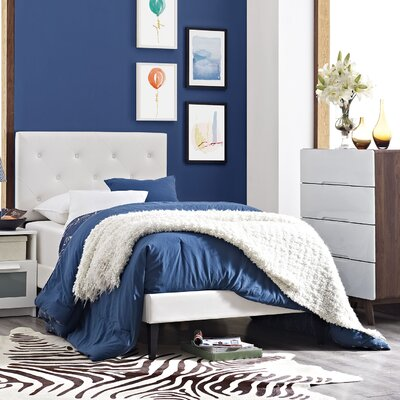 Terisa Vinyl Upholstered Platform Bed Size: King, Finish: White