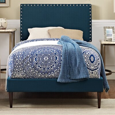 Phoebe Upholstered Platform Bed Finish: Azure, Size: Twin