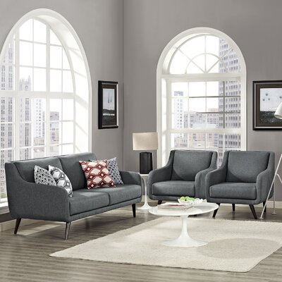 Verve 3 Piece Living Room Set Upholstery: Gray