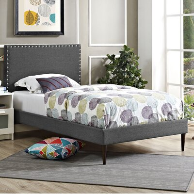 Phoebe Upholstered Platform Bed Finish: Azure, Size: Queen