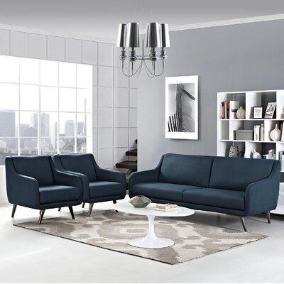 Verve 3 Piece Living Room Set Upholstery: Azure