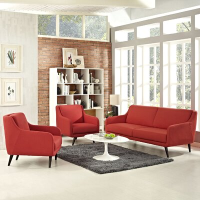 Verve 3 Piece Living Room Set Upholstery: Atomic Red