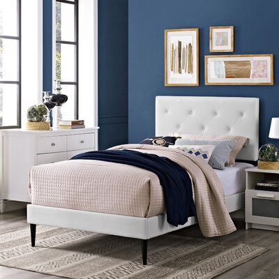 Terisa Upholstered Platform Bed Finish: White, Size: Twin