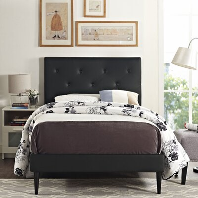 Ziemer Upholstered Platform Bed Size: Queen, Color: Black