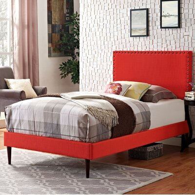 Preiss Upholstered Platform Bed Size: Twin, Finish: Atomic Red