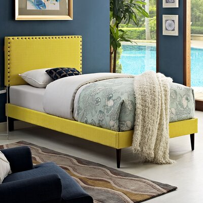 Preiss Upholstered Platform Bed Size: Twin, Finish: Sunny