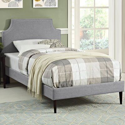 Preciado Wood Upholstered Platform Bed Finish: Azure, Size: Full