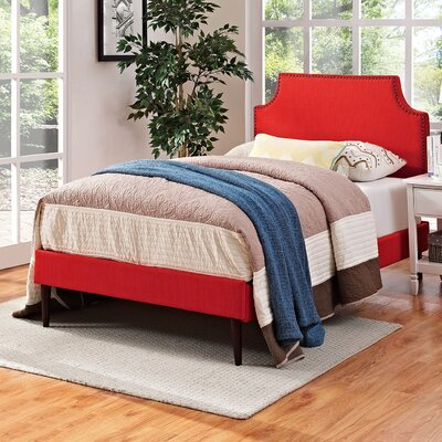 Preciado Wood Upholstered Platform Bed Size: Twin, Finish: Atomic Red