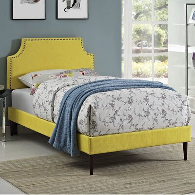 Preciado Wood Upholstered Platform Bed Size: Twin, Finish: Sunny