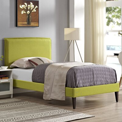 Camille Upholstered Platform Bed Size: Twin, Finish: Wheatgrass