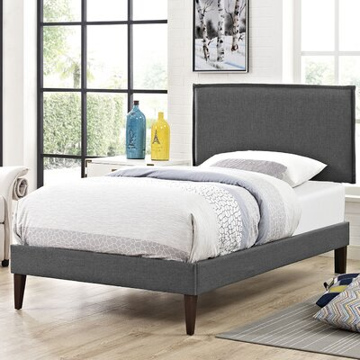 Camille Upholstered Platform Bed Size: King, Finish: Gray