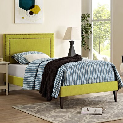 Eyre Upholstered Wood Platform Bed Size: Twin, Finish: Wheatgrass