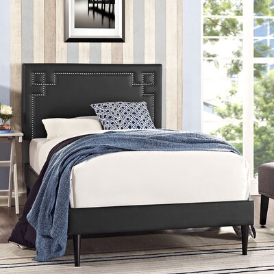 Josie Upholstered Platform Bed Finish: Black
