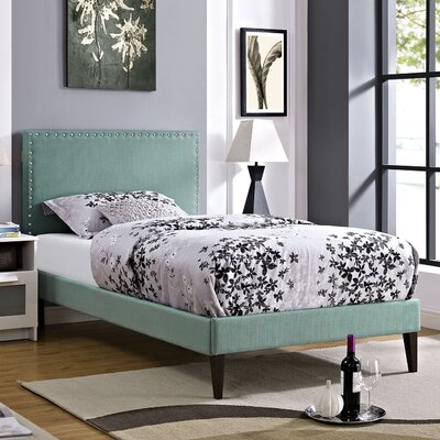 Preiss Solid Wood Frame Upholstered Platform Bed Finish: Laguna, Size: Twin
