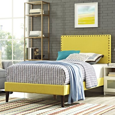 Preiss Solid Wood Frame Upholstered Platform Bed Size: Twin, Finish: Sunny