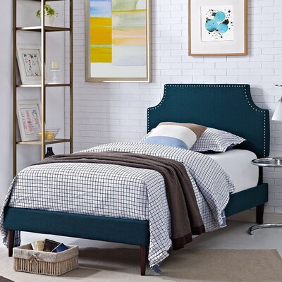 Preciado Wood Upholstered Platform Bed Size: Twin, Finish: Azure