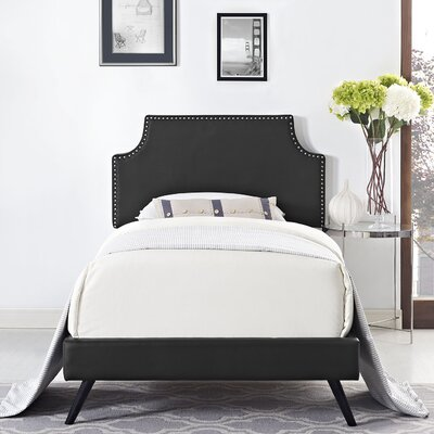 Preciado Upholstered Platform Bed with Round Splayed Legs Size: Twin, Finish: Black