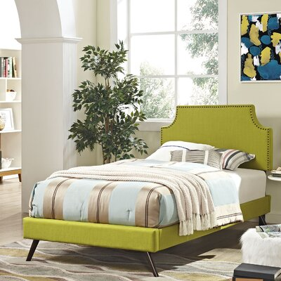 Preciado Solid Wood Upholstered Platform Bed with Round Splayed Legs Size: Twin, Finish: Wheatgrass
